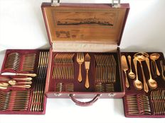 SBS Solingen - complete 12-person / 108 piece table cutlery model Wien in case - 24 carat gold plated