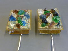 Unknown designer - Two wall lights, glass