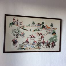Framed cross-stitch painting, horses scene
