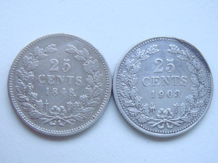 The Netherlands – 25 cent 1848 and 1903 Willem II and Wilhelmina – silver