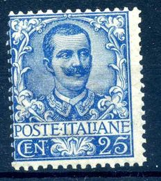Kingdom of Italy – 1901 – 25 cent – Blue – V.E. III – MNH ** – Sassone No. 73