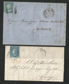 Sicily 1859: 2 Grana stamps, blue (NA) and light blue (PA)