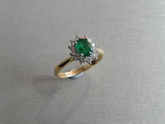 18k Gold Emerald and Diamond Cluster Ring - size 52