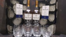 Macallan 12 Double Cask New Year 2017 Limited Edition Gift Set x 2 with 4 glasses