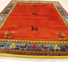 Wonderful Persian carpet Gabbeh wool on wool, Nomad work, made in India, natural colours 250 x 350cm, very good condition