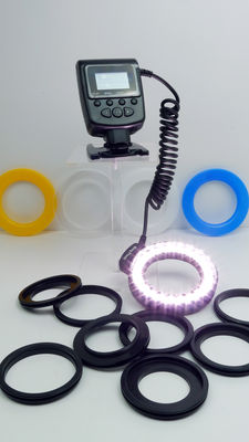 14-piece Macro LED Ring Flash Set for DSLR Cameras, like new, equipped with fresh batteries.