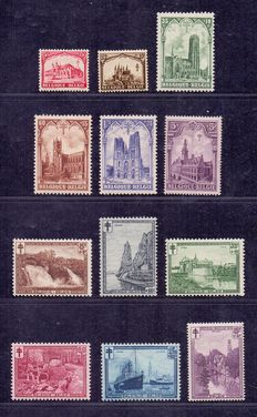 Belgium 1929 – Cathedrals and Landscapes – OBP 267/72 and 293/98.