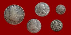 Spain - Lot of 5 Spanish silver coins. Two coins of Felipe V (half and one real, Madrid, 1738 and 1631), 2 others of Fernando VII (2 reales, Seville, 1815 and 1824). 8 reales, Fernando VII (Potosí, 1825). (5)