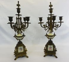 A pair of large candelabra - Ormolu bronze and hand painted porcelain - European - ca. 1840