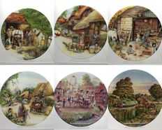 Collection of 6 Decorative Porcelain Plates - Old Country Crafts