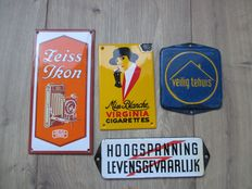 Lot with 4 enamel advertising signs