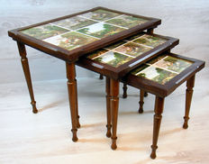 Three-piece set of side tables - with inlaid earthenware tiles - The Netherlands - second half of the 20th century