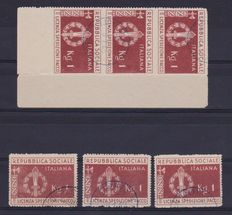 Italy 1944 – Repubblica Sociale Italiana, military franchise stamps for packages, in block of three with sheet corner, plus three more loose stamps