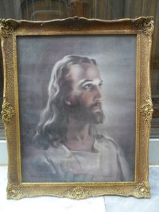 Jesus Christ + very old object with beautiful antique frame - Warner Sallman 1940 signed - see photos