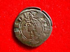 Medieval Spain. Alfonso I of Aragón (1104 - 1134). Billon Aragon coin (0.87 g, 19 mm), coined in the mint of Toledo.