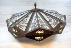 Ceiling lamp with brass frame and ornaments