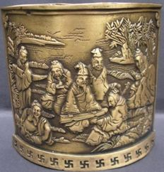 Bronze paint brush pot with depiction of 7 immortals – China – second half 20th century