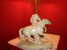 Old Sitzendorf -Large sculpture of horses polychrome porcelain