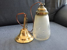 Antique copper with crystal cut hall lamp-Netherlands-1910