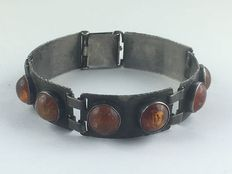Antique Art Deco Georg Kramer bracelet, 835 silver, blacked, adorned with 11 amber stones, around 1930