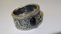 Wide men's ring with image of two dragons and dark oval-round onyx / width 14 mm