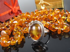 Silver amber ring and necklace, handmade
