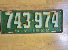 NEW YORK LICENSE PLATE 1922