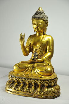 Statue reperesenting Buddha with Temple - China - late 20th century