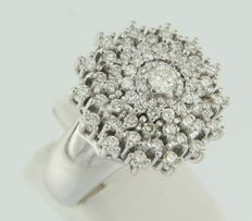 14k white gold cocktail ring set with brilliant cut diamonds approximately 1.50 ct in total