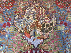 Wonderful Persian carpet, Kashan / Iran, 387 x 301cm, end of the 20th century. MINT CONDITION paradise and nature motifs UNIQUE TOP CONDITION