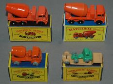 (Moko) Lesney Matchbox - Different scales - Lot with ERF Cement Mixer No.26, 2 x Cement Mixer No.26b and Bedford Low Loader No.27