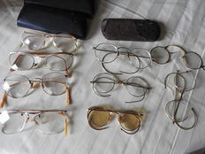 Eight old reading glasses - from 1920-40