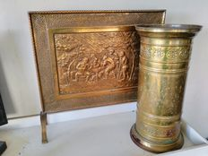 Fireplace screen and umbrella holder of yellow copper