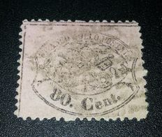 Papal State 1868, 80 cents, Sassone n.30c cert. Raybaudi.