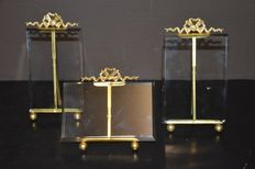 Lot of 3 gold plated antique photo frames with bow, signed BTE SGDG and crown as a symbol, France.