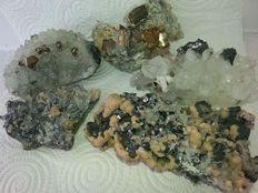 Lot of quartz with phantoms, pyrite, galena, sphalerite and chalcopyrite - Bulgaria - 850gm (5)