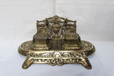J.H. Depose Model 100 - Brass Double Inkwell - Belgium - late 19th century