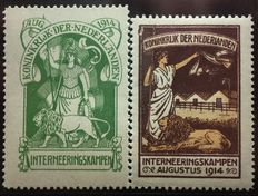 The Netherlands 1916 – Internment stamps – NVPH IN1+IN2, with certificate