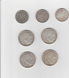 German Empire/Reich - 3 x 1 Mark, 4 x 5 Mark, various years - silver