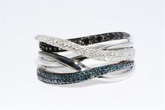 Blue, Black and white diamond cocktail ring