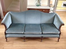 Louis XVI couch of oak wood with grey-blue velour - France - around 1900