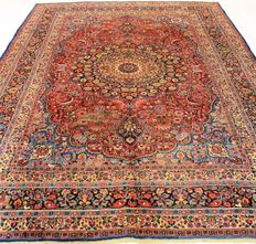 Persian palace carpet, old semi antique Mesched, vintage, 270 x 380 cm, made in Iran, around 1930