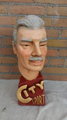 "Vintage Plaster Bust ""City Sports"" from 1980"