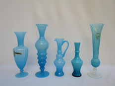 Italian opaline glass - lot of five pieces in blue