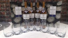 Macallan 12 Double Cask New Year 2017 Limited Edition Gift Set x 4 with 8 glasses
