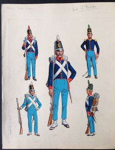 "Funcken - Original gouache Illustration (p.149) for ""L'Uniforme & les Armes des Soldats du 1er Empire vol.1 "" - (1968)"