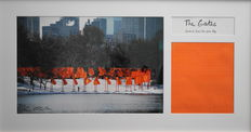 Christo - The Gates, Collage with original signed photo and fabric