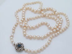 Akoya Pearl necklace, 5.5-9 mm, with white gold necklace, sapphire & diamonds approx 0.91 ct - 92 cm