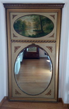 "Mostly gilded mantelpiece mirror with painting in cartouche -  ""Ferdinand Pauwels"" - Belgium - 19th century"