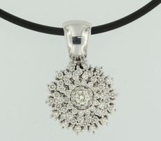 14 kt white gold entourage pendant on rubber necklace with 14 kt white gold clasp